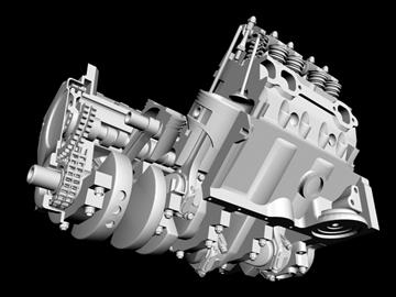 detailed v8 engine 3d model 3ds dxf 88012