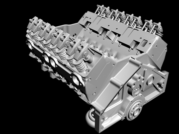 detailed v8 engine 3d model 3ds dxf 88013