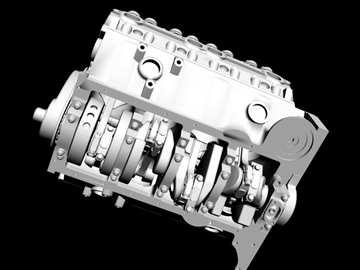 detailed v8 engine 3d model 3ds dxf 88014