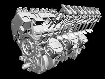 detailed v8 engine 3d model 3ds dxf 88015