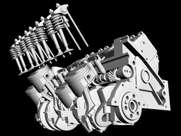 detailed v8 engine 3d model 3ds dxf 88016