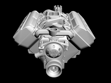 rani chrysler hemi v8 motor 3d model 3ds dxf 88008