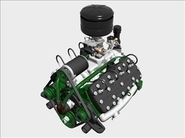 early flathead v8 engine 3d model 3ds dxf 109551