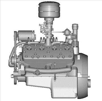 rani flathead v8 motor 3d model 3ds dxf 109560