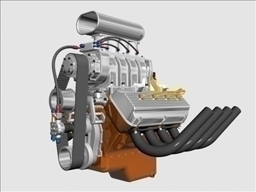 early hemi v8 with blower 3d model 3ds dxf 88173