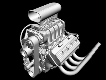 rani hemi v8 s ventilatorom 3d model 3ds dxf 88179