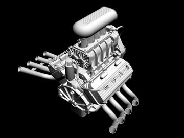 rani hemi v8 s ventilatorom 3d model 3ds dxf 88180