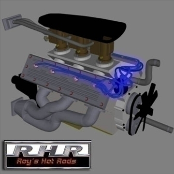 flat head hot rod motor 3d model lwo obj 81883