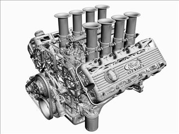 ford 427 sohc v8 engine 3d model 3ds 105550