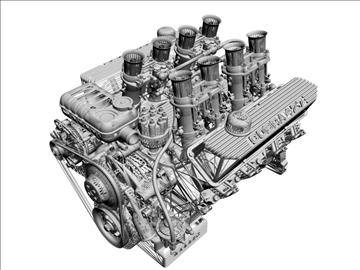 ford 427 weber v8 engine 3d model 3ds 105534