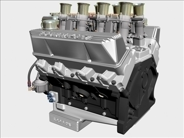 ford 427 weber v8 engine 3d model 3ds 105536