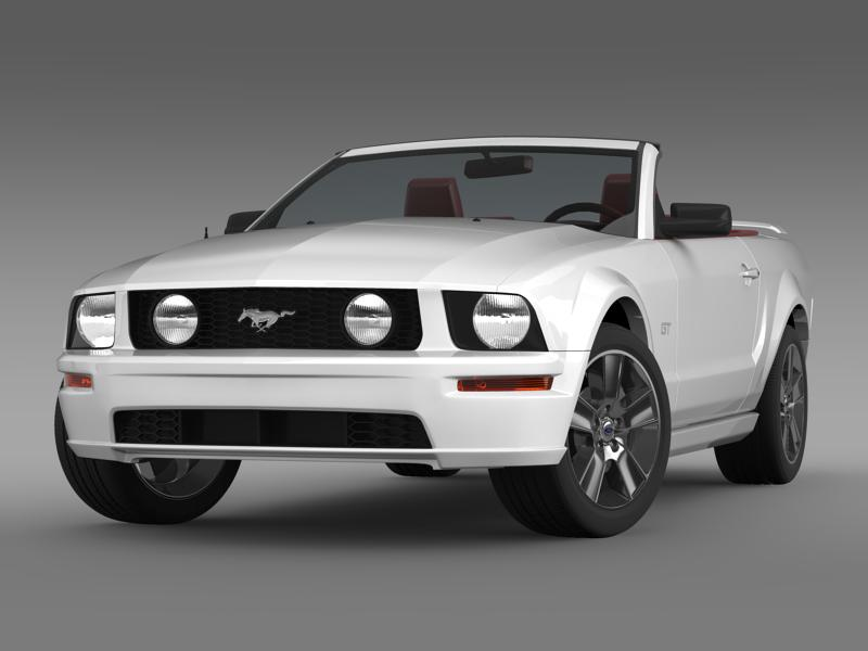 ford mustang convertible gt 2005 3d model 3ds max fbx c4d lwo ma mb hrc xsi obj 143223