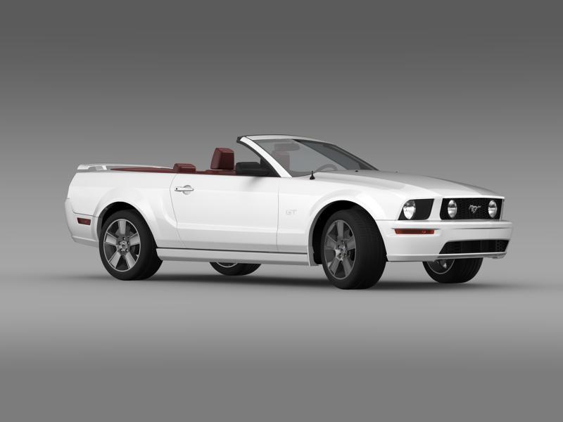ford mustang convertible gt 2005 3d model 3ds max fbx c4d lwo ma mb hrc xsi obj 143233