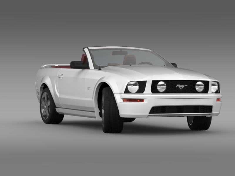 ford mustang convertible gt 2005 3d model 3ds max fbx c4d lwo ma mb hrc xsi obj 143234