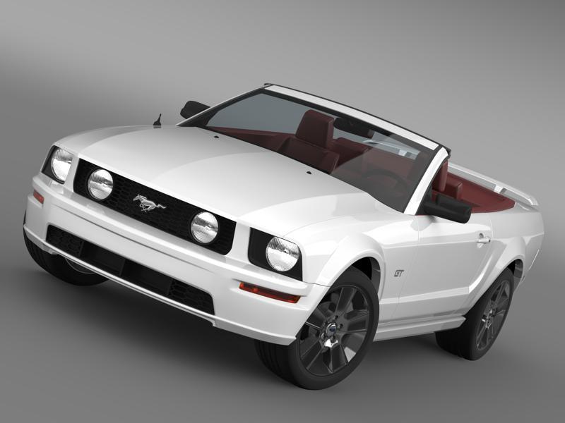 ford mustang convertible gt 2005 3d model 3ds max fbx c4d lwo ma mb hrc xsi obj 143235