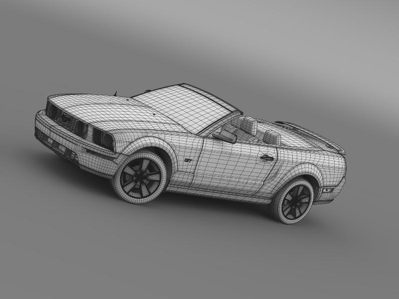 ford mustang convertible gt 2005 3d model 3ds max fbx c4d lwo ma mb hrc xsi obj 143243
