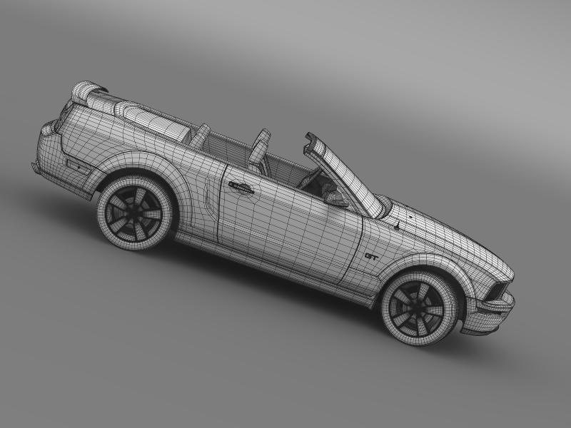 ford mustang convertible gt 2005 3d model 3ds max fbx c4d lwo ma mb hrc xsi obj 143247
