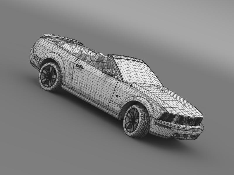 ford mustang convertible gt 2005 3d model 3ds max fbx c4d lwo ma mb hrc xsi obj 143248