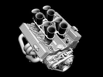 hilborn-injected chevrolet v8 engine 3d model 3ds dxf 88109