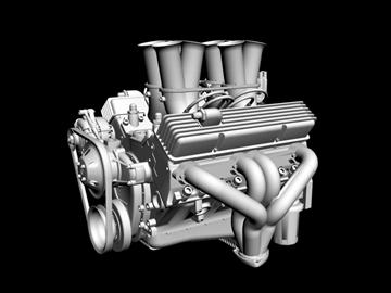 hilborn-injected chevrolet v8 engine 3d model 3ds dxf 88110