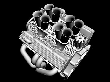 hilborn-injected chevrolet v8 engine 3d model 3ds dxf 88111