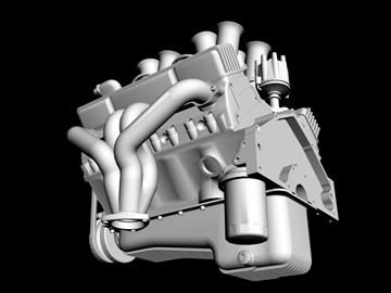 hilborn-injected chevrolet v8 engine 3d model 3ds dxf 88113