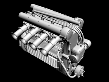 offenhauser engine 3d model 3ds dxf 99096