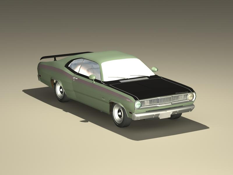 plymouth duster 340 1971 3d model 3ds max fbx obj 147936