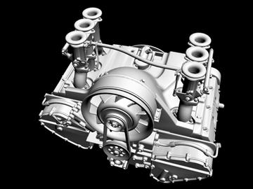 porsche 3.2 liter engine 3d model 3ds dxf 88076