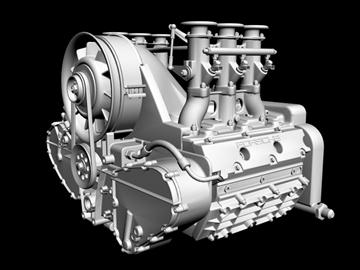 porsche 3.2 liter engine 3d model 3ds dxf 88079