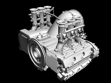 porsche 3.2 liter engine 3d model 3ds dxf 88081