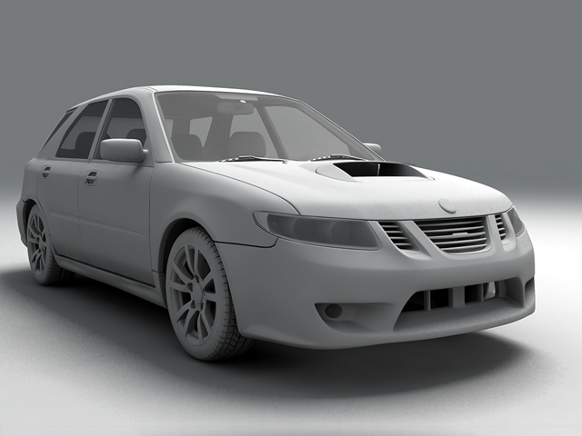 saab 9 2x 3d model 3ds max obj 124837