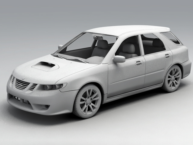 saab 9 2x 3d model 3ds max obj 124838