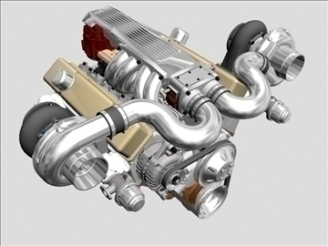 twin-turbo v8 engine 3d model 3ds dxf 96261