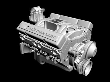 v8 motor 3d model 3ds dxf 88057