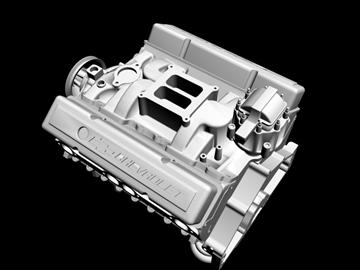 v8 motor 3d model 3ds dxf 88058