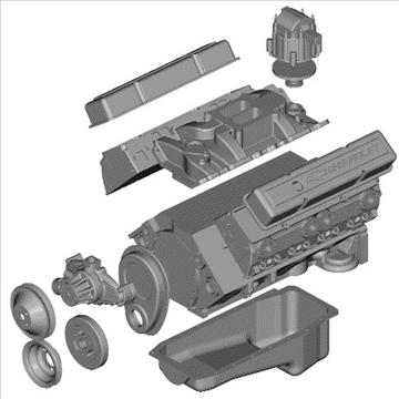 v8 motor 3d model 3ds dxf 88060