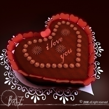 valentine chocolate cake 3d model 3ds dxf c4d obj 109514