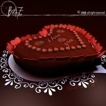 Гэгээн Валентины өдөр шоколад бялуу 3d загвар 3ds dxf c4d obj 109515