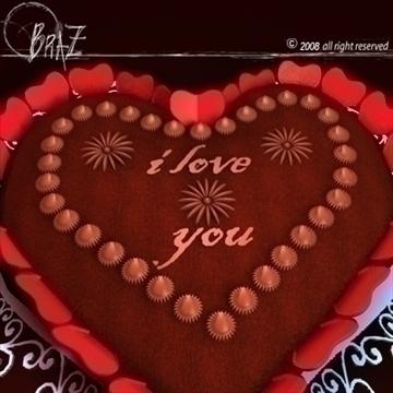 Гэгээн Валентины өдөр шоколад бялуу 3d загвар 3ds dxf c4d obj 109516