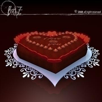 Гэгээн Валентины өдөр шоколад бялуу 3d загвар 3ds dxf c4d obj 109519