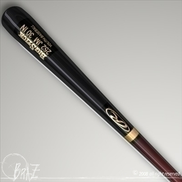 baseball bat 2 3d model 3ds dxf c4d obj 87820