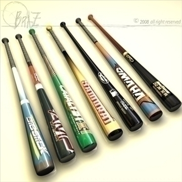 baseball bats collection 3d model 3ds dxf c4d obj 109494