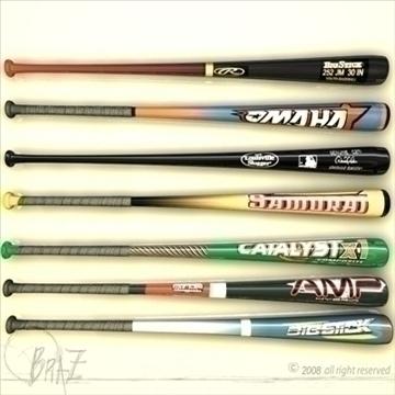 baseball bats collection 3d model 3ds dxf c4d obj 109496