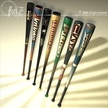 baseball bats collection 3d model 3ds dxf c4d obj 109498