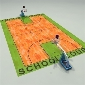 high school basketball court. 3d model 3ds max c4d ma mb other pz3 pp2 obj 94948