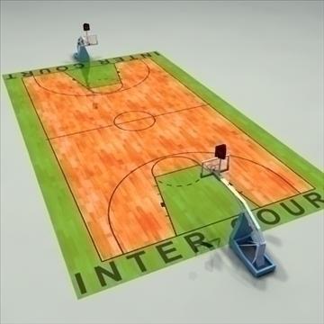 international official basketball court. 3d model 3ds max c4d ma mb other pz3 pp2 obj 94958