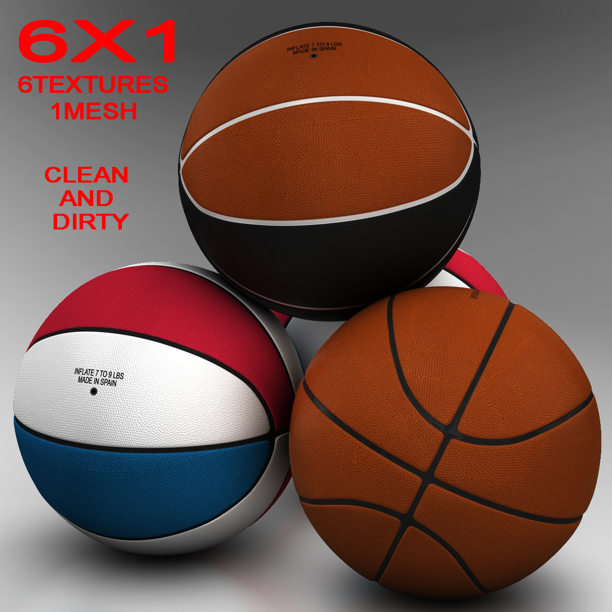 standardní basketbalový míč 3d model 3ds max fbx c4d ma mb obj 164706