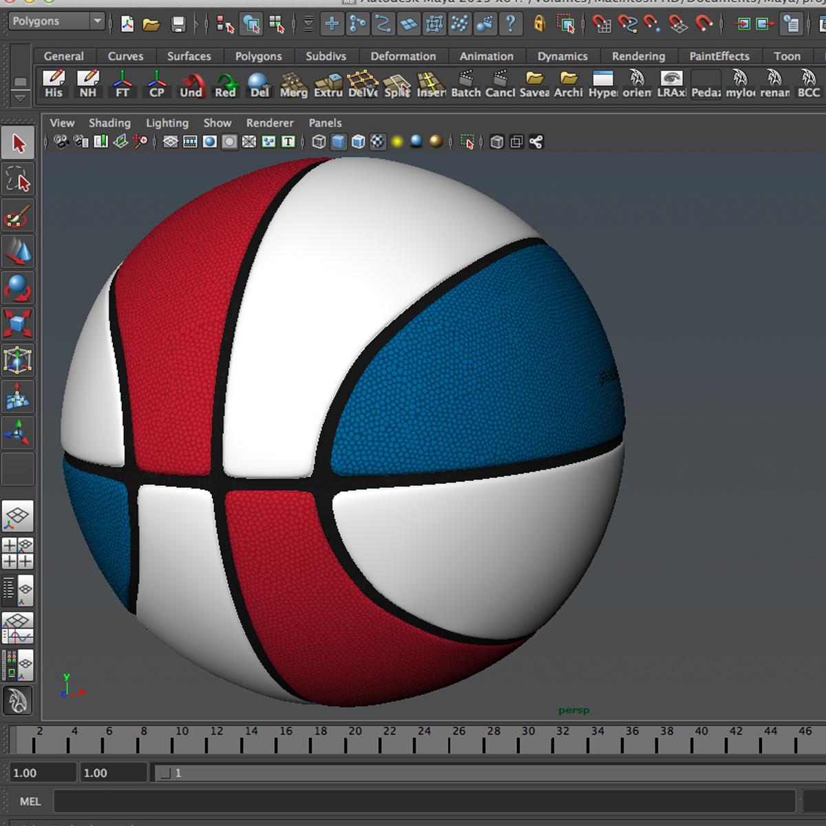tricolor basketball ball 3d model 3ds max fbx c4d ma mb obj 164855