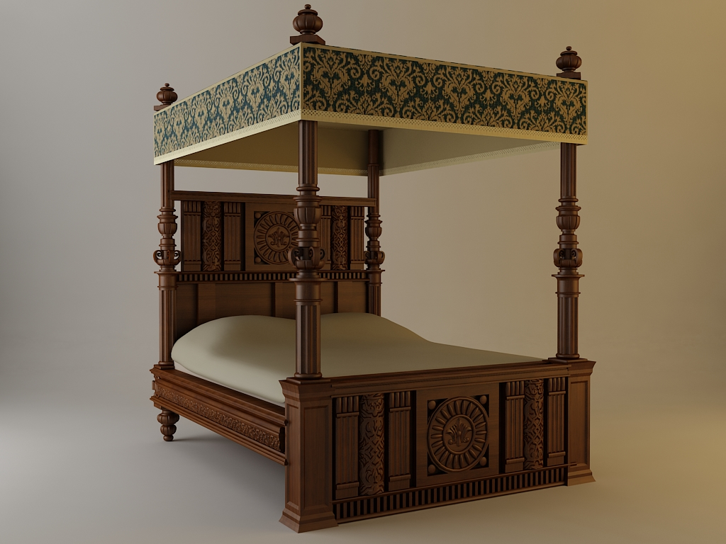 - Antique Canopy Bed 3D Model - FlatPyramid